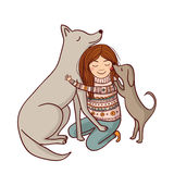 Vector girl with dogs illustration. Stock Photography