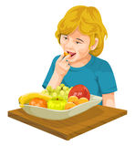 Vector of girl eating fresh fruit. Royalty Free Stock Photography