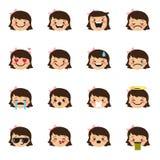 Vector girl emoticons collection. Cute kid emoji set royalty free illustration