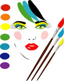 Vector girl face. With brushes Stock Images