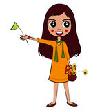 Vector Girl with Flag. With basket flower Royalty Free Stock Photography