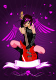 Vector girl with guitar and banner Stock Photo