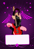Vector girl with guitar and copy-space Royalty Free Stock Photography