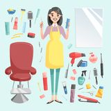 Vector girl hairdresser with hair clipper and hair brush portrait in full growth isolated on background. Professional Stock Images