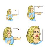 Vector girl holding blank paper pointing it. Set of vector pop art round avatar icons for users of social networking, blogs, profile icons. Blonde girl in dress Stock Images