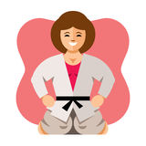 Vector Girl in kimono. Flat style colorful Cartoon illustration. Stock Images