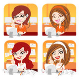 Vector girl in the office Royalty Free Stock Images
