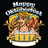 Girl of oktoberfest celebrate the party. Vector of girl of oktoberfest celebrate the party Stock Images