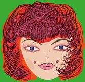 Vector girl one big head. Vector girl one big head. Drawn vector female head bright red hair on a green background Royalty Free Stock Images