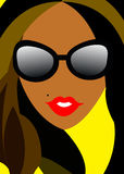 Vector girl portrait beauty hair beautiful Royalty Free Stock Image
