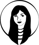 Vector girl portrait. In black and white flat style Royalty Free Stock Photos