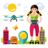 Vector Girl quadrocopter flight controls. Flat style colorful Cartoon illustration. Woman with remote control operates a flying drone. Isolated on a white Stock Photo
