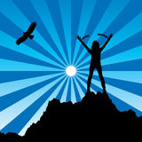 vector girl with raised hands and broken chains Royalty Free Stock Images