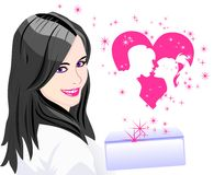 Vector The girl received a letter about love Stock Images