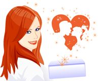 Vector The girl received a letter about love Stock Photography