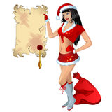 Vector Girl in red suit of Santa with banner Stock Image