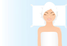 Vector girl relaxing in spa Stock Images