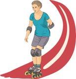 Vector. Girl on roller skates. Stock Image