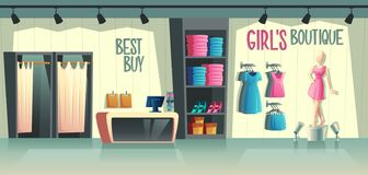 Vector girl s boutique. Female clothing shop interior. Vector girls boutique. Female clothing shop interior - wardrobe with clothes, cartoon mannequin in dress stock illustration