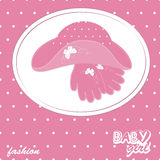 Vector  girl scrapbook arrival card. Vector baby girl scrapbook arrival card with hat and gloves Royalty Free Stock Photos