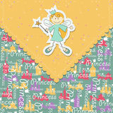 Vector girl scrapbook card with fairy Royalty Free Stock Image