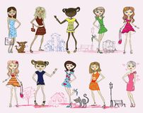 Vector girl set Stock Photography