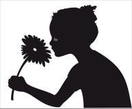 Vector girl silhouette. Girl smelling flower silhouette black on white background vector illustration