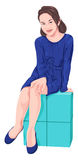 Vector of girl sitting on block. Royalty Free Stock Photography
