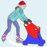 Vector. Girl on skates. Girl in red Santa hats on skates with sled Royalty Free Stock Photography