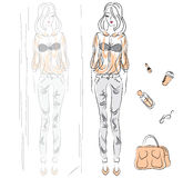 Vector girl in stylish blouse Royalty Free Stock Photography