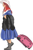 Vector. Girl with a suitcase. Stock Images
