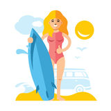 Vector Girl with surfing. Flat style colorful Cartoon illustration. Royalty Free Stock Photography