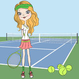 Vector girl Tennis player on the Tennis court with Stock Images