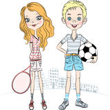 Vector girl with a tennis racket and sports boy wi. Beautiful fashionable girl with a tennis racket and sports boy with soccer ball Royalty Free Stock Photos