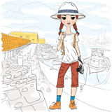 Vector girl traveler with photo camera in port. Lovely fashion girl traveler in white hat with photo camera in the port of Heraklion, Crete, in sketch-style Royalty Free Stock Photography
