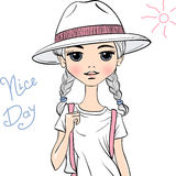 Vector girl traveler in white hat. Lovely fashion girl traveler in white hat in sketch-style Royalty Free Stock Photo