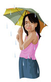 Vector of girl with umbrella. Stock Photography