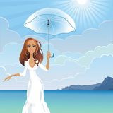 Vector Girl with an umbrella by the sea. Beautiful young girl with long dark hair with an umbrella against the sea and the mountains on a sunny day Royalty Free Stock Images
