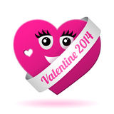 Vector girl valentine heart Royalty Free Stock Photo