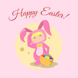 Vector girl wearing easter bunny costume. Illustration on a white background Stock Photography