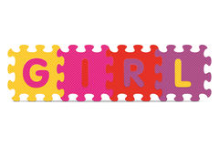 Vector GIRL written with alphabet puzzle Stock Images