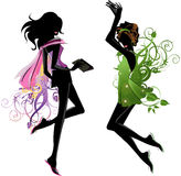 Vector  girls. Drawing  girl's  silhouettes in action isolated on a white background Royalty Free Stock Photo