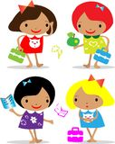 Vector girls back to school icons Stock Images