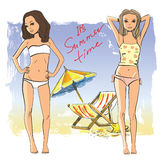 Vector girls on the beach Stock Photography