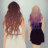 Vector girls with beautiful hair. Hipster girls with beautiful hair,  illustration Royalty Free Stock Photography