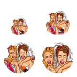 Vector girls, bride hen party pop art avatar icons stock illustration