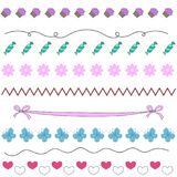 Vector for girls with flowers, candies. And different flowers Stock Images