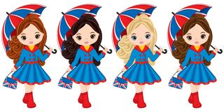 Vector Girls Holding Umbrellas and Handbags with British Flag Print. Vector cute little girls with various hair colors. Vector little girl. Little girls vector Stock Photos