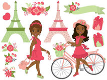 Vector Girls in Paris Set Royalty Free Stock Photography