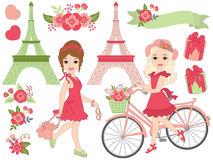 Vector Girls in Paris Set stock illustration
